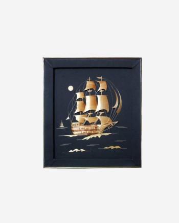 Картина панно из соломки фрегат паллада ссср 70-е