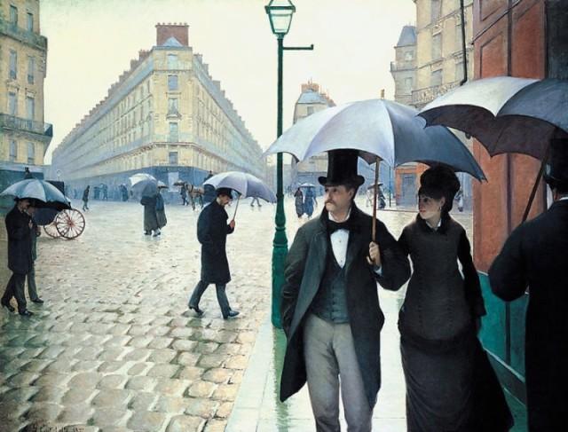 "Картина"" Улица Парижа, Дождливый День"", Гюстав Кайботт (фр. Gustave Caillebotte), 1877г., Wikimedia СС0."