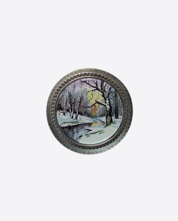 Настольная пудреница Ленэмальер (весенний лес/эмаль), 50-60-е гг., СССР