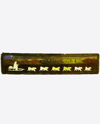 """Панно из моржовой кости, меха нерпы и оленя """"Собачья упряжка"""", 1970-80-е гг., Магадан"""