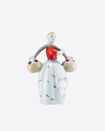"""Статуэтка """"Девушка с грибами"""", ПЗХК, фарфор, 1965-1972 гг. выпуска."""