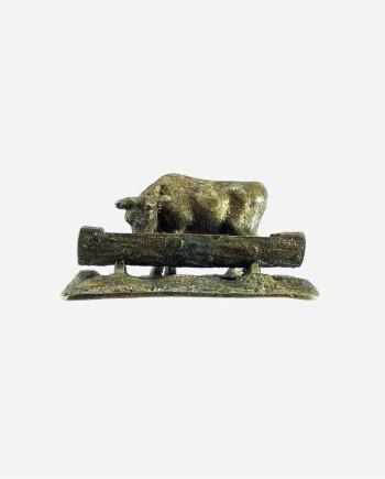 "Бронзовая миниатюра ""Корова у кормушки"", мастерская Г.Коглер, Германия, 1904г."